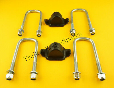 4 x Axle U Bolts 130mm & Bump Stop for Ifor Williams Trailer  TWIN Leaf Spring