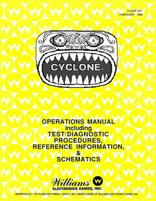 Cyclone Game Operations/Service/Repair Owners Manual/Arcade Pinball Machine  PPS