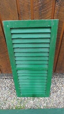 """VINTAGE Old GREEN SHUTTER Wooden 32"""" long x 15"""" Wide Architectural Salvage"""