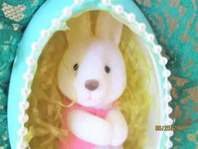 VINTAGE 80's HAND CRAFTED EASTER EGG WITH FLOCKED BUNNY INSIDE ORNAMENT