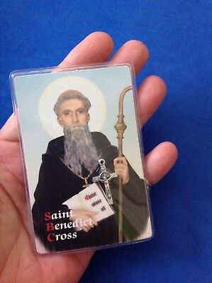 Rare St BENEDICT Protection Prayer Saint Medal Crucifix Laminated Prayer Card