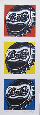 """ALLISON LEFCORT """"PEPSI COLA"""" Hand Signed Limited Edition Lithograph Andy Warhol"""
