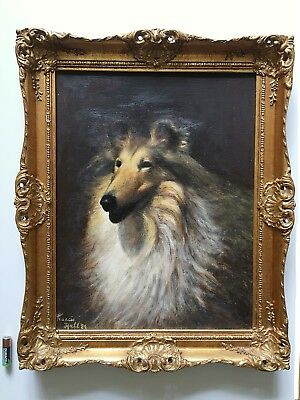 Vintage Oil Painting Portrait Of A Collie Dog Gilt Wood Rococo Frame Signed