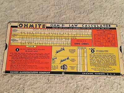 1941 OHMITE MFG. CO. Ohm's Law Calculator 0.1 to 10 Megohms PERRY GRAF CORP. USA