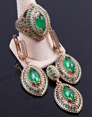 EMERALD stone turkish jewelry 925 sterling silver green ladies set ALL SİZE us -