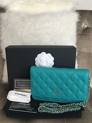 4b077191dcf231 CHANEL Timeless Classic Wallet On Chain Quilted Caviar Crossbody Bag  Turquoise