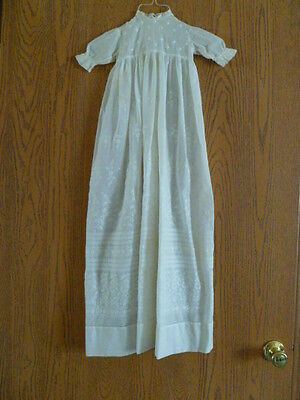 ANTIQUE 100% WHITE COTTON COLLECTIBLE REAL ANTIQUE 1890 3pc CHRISTENING GOWN SET