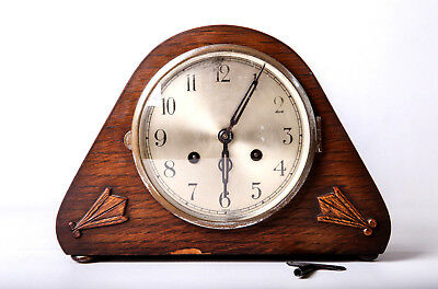 Rare Wood Mantel Clock Gong Good Condition With Keys Collectable