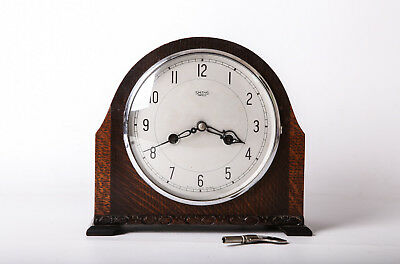 Vintage Smith Enfield Woden Mantel Clock Gong Working With Keys