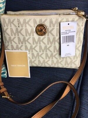 d5de6e5260ad3 New Michael Kors Fulton Ew Mk Signature Crossbody Bag Vanilla Acorn New Tags