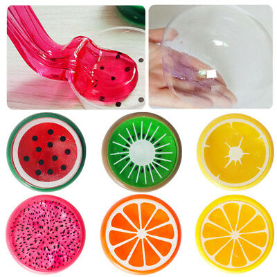 6 Colors Creative Fruit Crystal Clay Putty Jelly Slime Plasticine Mud Kids Toy .