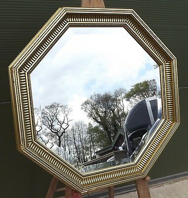 Gilt-Frmaed Octagonal Bevel-Edged Wall Mirror, Antique Style (61cm diameter)