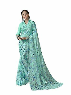 Blue Bollywood Indian Saree Pakistani Ethnic Party Wedding Designer Sari