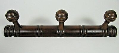 Antique Wall Hanging Coat Rack French Wooden Carved Faux Bamboo 3 Pegs Hall Tree
