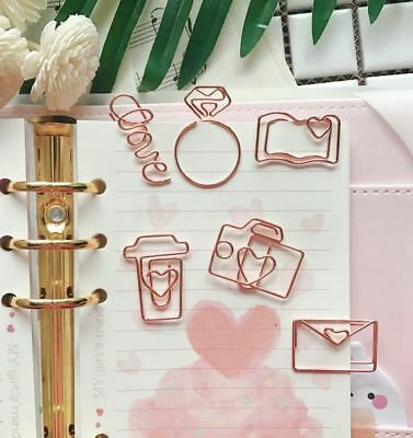 Rose Gold Paper Clips Bookmark Planner Tools Scrapbooking Tools Memo Clip Metal