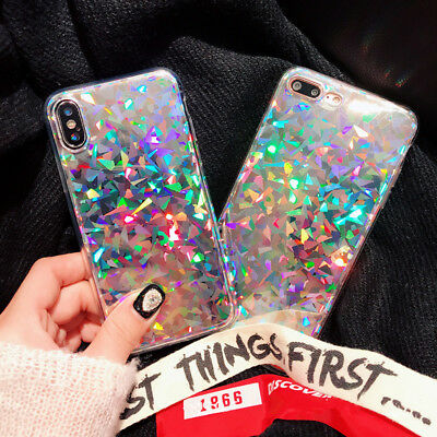Bling Laser Glitter Shockproof Soft Silicone Case Cover For iPhone X 6s 7 Plus 8