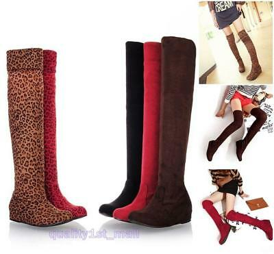 New Sexy Girl's Over The Knee High Flat Ladies Long Faux Suede Thigh Boots 8C
