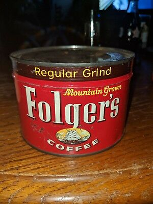 1950 Folgers Coffee Can Unopened With Key Still Attached.