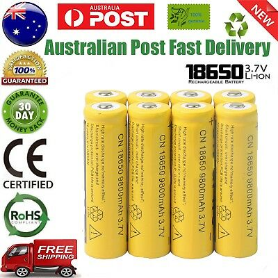 8pcs Yellow 9800mAh 3.7V Li-ion 18650 Rechargeable Battery For Torch AU Stock