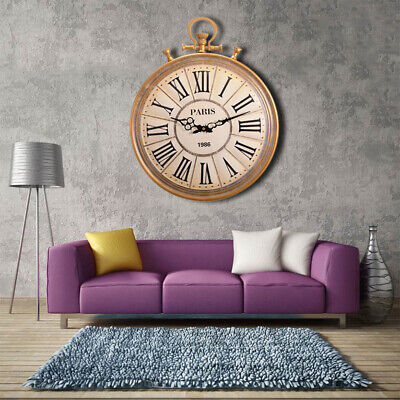 Retro Large Antique Vintage Pocket Watch Style Chic Roman Numerals Wall Clock
