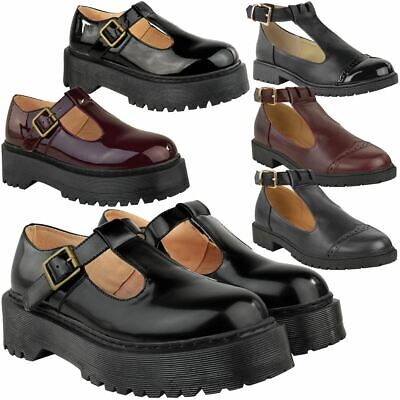 New Ladies Womens Girls School Shoes Cut Out Chunky Dolly Geek  Work Pumps Size