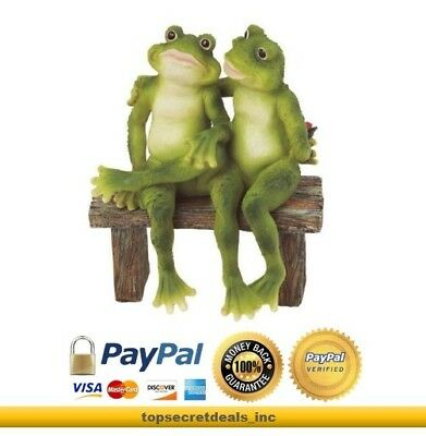 Frogs on Bench Figurine Crafted Polyresin Garden Decoration Reptile Statuette