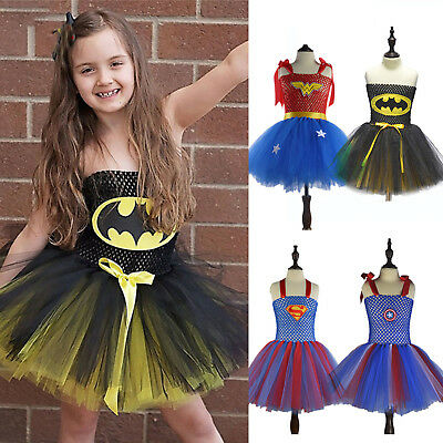 Kids Girls Superhero Wonder Woman Dress Up Cosplay Costume Christmas Party Dress
