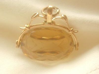 Superb Antique 9Ct Gold Large Citrine Spinner Fob Pendant / Huge Stone Stunning