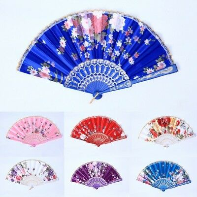 Chinese Flower Silk Lace Folding Bamboo Fans Hand Held Fan Wedding Dancing Party