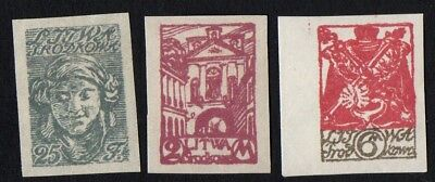 Central Lithuania. 1920 New Daily Stamps. SG 14, 16, 18. Imperf. MH