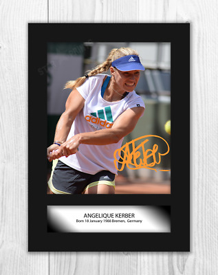 Angelique Kerber A4 signed mounted photograph picture poster. Choice of frame.