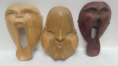 "Screaming Demon Indonesian Wooden Mask 3 Pack Wall Home Decoration 9x6"" 3 Masks"