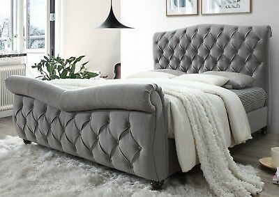 Florentia Luxury 4ft6 Double Grey Upholstered Chesterfield Bed Frame