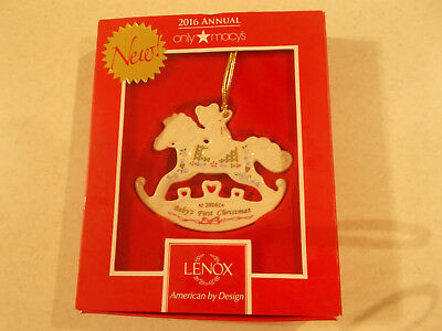 2016 LENOX BABY'S FIRST 1st CHRISTMAS Rocking Horse Ornament -  NEW in Box