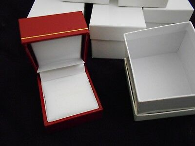 8 Red Leatherette Ring Presentation Display Gift Boxes