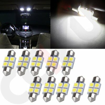 10X 31mm 4SMD 5050 White LED Festoon Interior Map Dome Light Lamp Bulb DE3021 US