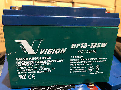 USED Vision VRLA 12V 24Ah Deep Cycle AGM Battery for Scooter Golf Buggy Cart