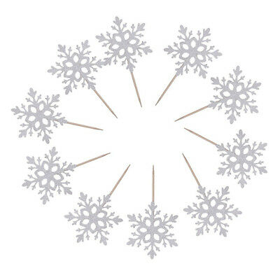10x Paper Snowflake Cake Cupcake Topper Frozen for Wedding Party Birthday Decor