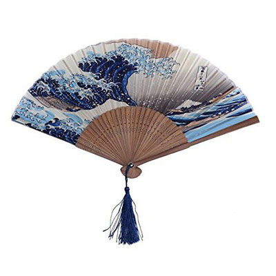 Dark Blue White Wave Pattern Lace Bamboo Handheld Folding Fan for Girls Women