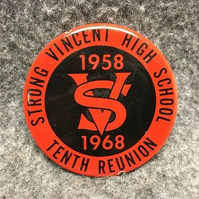 1958-1968 Strong Vincent High School Tenth Reunion Paper Weight Porcelain Enamel