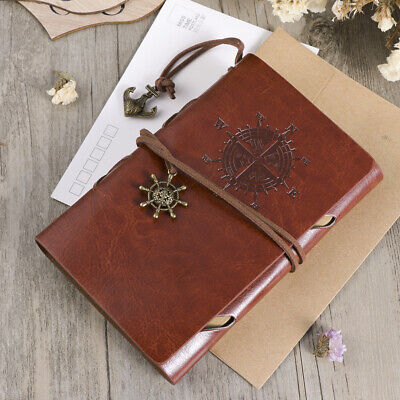 Retro Leather Cover Refillable Blank Line Spiral Notebook Journal Diary
