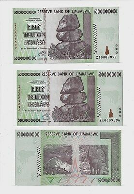 2X 50 TRILLION ZIMBABWE ZA DOLLAR PAIR, Replacement MONEY.UNC[10 20 100]Currency