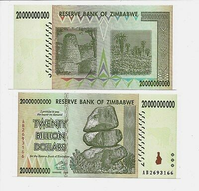 20 Billion Zimbabwe Dollar 2008 Money Currency Unc Trillion 10 50 100