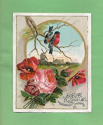 Lovely BLUE BIRDS, ROSES On WOOLSON SPICE CO. MIDSUMMER Victorian Trade Card