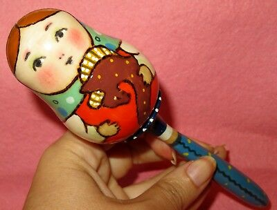 Baby Rattle Traditional wooden Russian Doll hand painted signed Ryabova