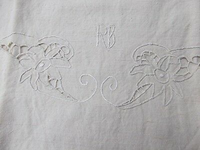 antique vtg French metis slub linen cut ladder work sham sheet 27x47 monogram RB