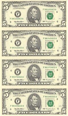 1995 $5 Federal Reserve Note Sheet of 4 World Reserve Monetary Exchange - CA202