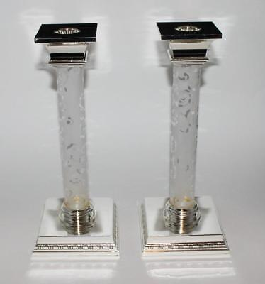 "Godinger Silver Plated 11"" Tall Pair of Candlesticks w Etched Glass Columns NEW"