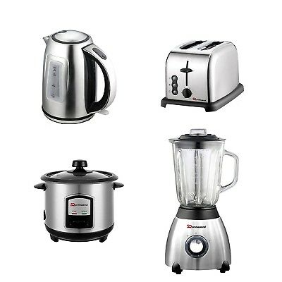 Set of Electric Kettle, Toaster, Rice Cooker, Blender, Stainless Steel - Silver