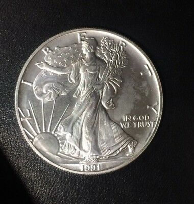 1991 American Silver Dollar Eagle ~ Gem Bu Contains 1 Troy Oz .999 Fine Silver